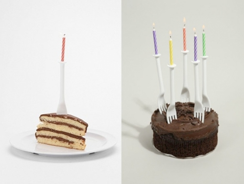 Candles on Forks on Cake