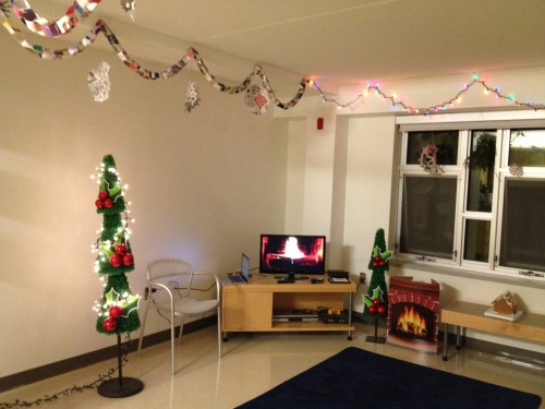 college living room christmas